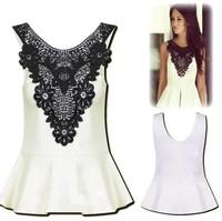2014 Women Blouses Plus Size Lace White Sexy Slim Blusas Femininas Sleeveless Chiffon O-neck TopsCasual Women's Clothing Shirts