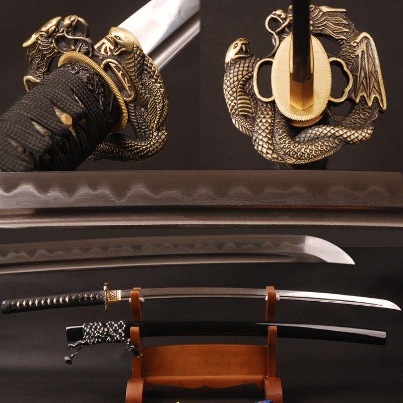 hand forged sword damasus folded steel 32768 layers clay tempered samurai katana(China (Mainland))