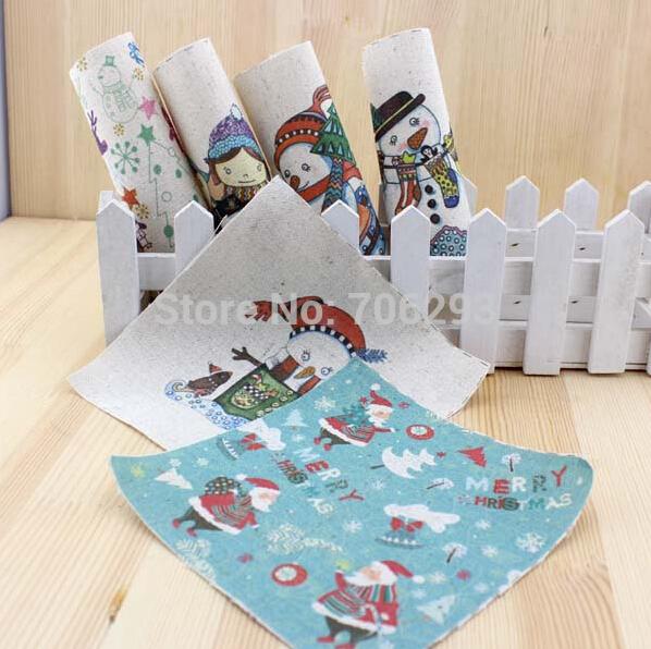 Snowman Quilt Fabric Linen Printed Quilt Fabric