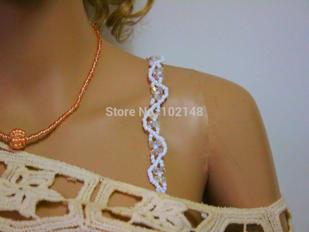 retail/wholesale fashion elastic crystal beads bra straps for lady handwork bra accessories LK-BR1412302(China (Mainland))