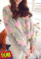 High quality fashion 2014 autumn and winter thickening furry rose top thermal fur sweatshirt