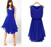 WZ12-34 2015 New Women'S Chiffon Dress Slim Temperament Diamond Straps Irregular Sexy Summer Dress