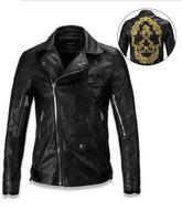 NWT fashion high quality men's jacket leather coat jackets Tyrant gold embroidered skull Punk leather motorcycle jacket