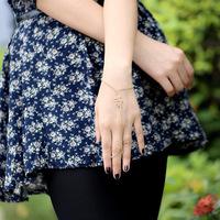 1 pieces/lot Fashion Elegant Women Girl Snake Ring Slave Hand Chain Bracelet Gold Tone Bangle
