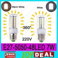 AC220V-240V E27 5050SMD 48LEDs 7W High Quality Bright Corn LED Bulb Wall Lamps Ceiling light White 6500K or Warm White 3200K