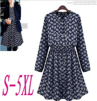 5XL Big Size Women's Dresses Chiffon Autumn Winter Casual Dress Long Sleeves Floral Women's Clothing Vestidos Femininos