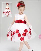 Retail! 2015 New Girl Summer Dream Dress With Red Flowers Beautiful Princess Dress,Flower Baby Girls Wedding Dress,Best Gift