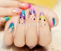 New 2015 colorful glitter long design 3D Drill false nails, 24 pcs stiletto french fake nail tips. 201504-6