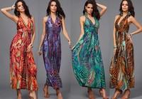 1pcs/lot Women's New V-Neck Hang Neck Colors Sexy Bohemia peacock print dress Summer's dress Long Beach dress 4color