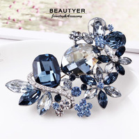 Vintage Luxury Ink Blue Element Crystal Flower Cluster Brooches Prom Wedding Bouquet For Dress Women Accessories Beautyer XZ32