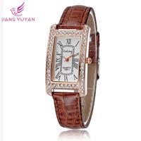 2015 Woman dress watches luxury brand quartz analog rose gold ladies fashion casual leather straps wristwatches