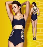 NEW 2015 Vintage print high waist one piece swimsuit push up swimwear bandage retro printed floral swimwear bandage bathing suit