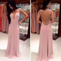 2015 Explosion Models Women Deep V-neck Halter Strape Dress Floor-length Pink Chiffon Dress Free Shipping