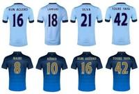 2014 15 football jerseys thailand quality first M City Nasri KOMPANY 2015 SILVA YAYA TOURE KUN AGUERO Away Jersey Blue Shirts