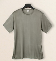 Male  mulberry silk T-shirt silk knitted o-neck short-sleeve loose plus size top