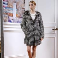 2015 New Women's Fur Coat Silver Fox Outwear Coats for Women's Coats 2015 plus Size with V-Neck
