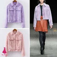 2015 Trendy Winter Celebrity Womens Lapel Lamb Wool Plush Short Coat Jacket Outerwear