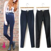 Fashion Women Retro High Waist Stretch Legging Zipper Keep Warm Add Fleece Thick Pencil Pants Slim Trousers Black Dark Blue 2015