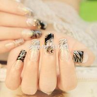 New 2015 glitter Zebra Stripe french long design false nails, 24 pcs 3d decorate full cover fake nail tips. 201506