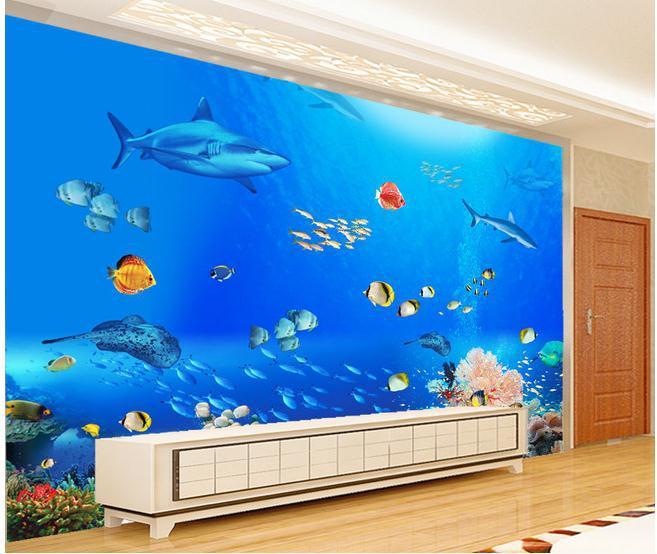 Popular tropical fish wallpapers buy cheap tropical fish for Aquarium mural wallpaper