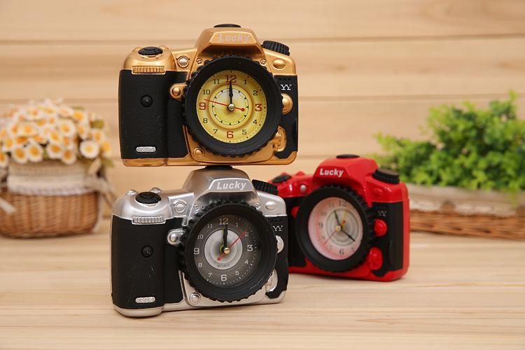 High Quality!! Portable New Camera Alarm Clock Plastic Small Clocks Good Fashion Gift For Student Children(China (Mainland))