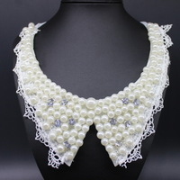 N72 2015 Handmade Lace Choker Necklace With Simulated Pearls And Rhinestones For Women Fall Fashion Jewelry accessories LC40