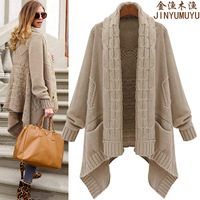 2014 autumn and winter plus size cardigan female medium-long sweater outerwear thickening fashion loose irregular sweater