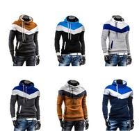 Wholesale New 2014 Spring Mens Fleece Hoodies Hit Color Design For Men Sport Dress Slim Sweatshirt Man Hoody XXXL LL1594
