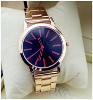 2015 High Quality New Hot sale Men Quartz Watch Women Geneva Stainless Steel Rose Gold  watches Unisex simple Brand Watch