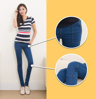2015 new spring  adjustable elastic cotton blue maternity skinny belly jeans pregant woman small feet pants