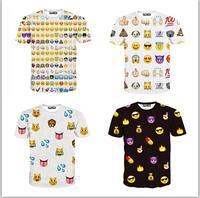 Hot fashion emoji t shirt hot style emoticons tshirt summer funny clothes women/ girl top tees t-shirt clothing