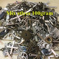 100g (45~60pcs) Random Mix Styles Antique Silver & Antique Bronze Zinc Alloy Charms Pendant DIY Jewelry  Decoration