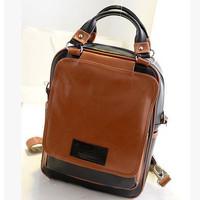 ANGEL ! 2015 Women Backpacks Brand school bag Backpacks Women's PU Leather Double color stitching Bag FF686
