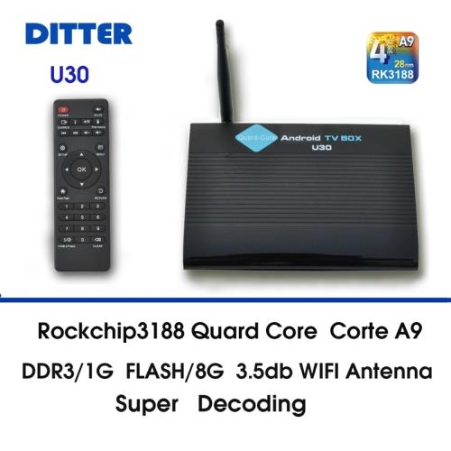 Smart TV Box U30 HD 1080P Android 4.4.2 Remote Control RK3188T Quad Core Cortex A9 1GB+8GBWIFI Bluetooth RJ45 HDMI(China (Mainland))
