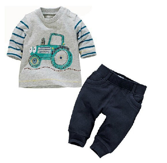 unisex baby clothing sets new spring 2015 baby boys and girls wear three quarter T with capris sets children clothes(China (Mainland))
