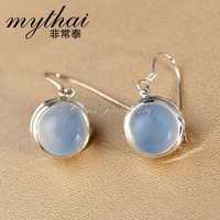 Very small fresh Thai mosaic natural chalcedony 925 Silver round earrings Korea beautiful earrings earring