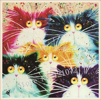 2015 3D вышивки крестом алмазов живопись красочные кошка подарок для украшения дома бесплатная доставка животных серии алмазов