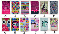 Fashion cute Owl PU mobile phone bag for iPhone 6 Plus 5.5 inch Love Leather cover case  Flip Stand Card Holderwallet 100pcs/lot
