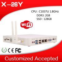 industrial embedded pc celeron desktop pc thin client linux X-26Y 2 lan 2GB RAM 128GB SSD with 1*MIC,1*SPK,1*DC-IN jack etc.