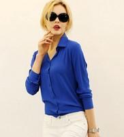 2015 new arrive High quality fashion long sleeve chiffon shirt women blouse female ladies blusa tops clothes clothing 7711