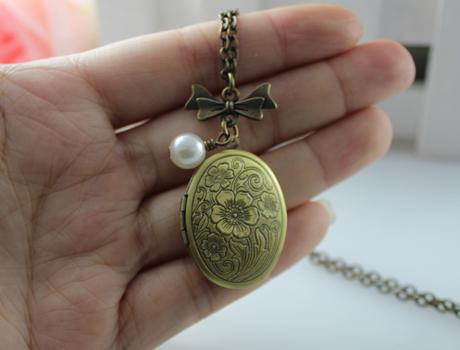 1Pc 30x24MM Bronze Wish Box Necklace,Statement Necklace Pendant Locket Jewelry Necklace(China (Mainland))