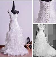 2015 new Oblique short trailing elegant bandage dress bride wedding dress outdoor small tail wedding gown bridal