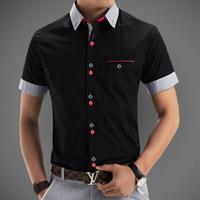 Mens Casual Shirt 2015 New Fashion Short Sleeve Men's Slim Fit Cotton Print Shirt  Plus Size Mens Dress Shirts