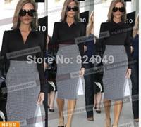 Free Shipping, 2015 Top Fashion Women Turn-down collar Zipper inspired Optical Illusion Swallow Gird Bodycon Slim Fitted Dress