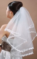 Bridal Veils 2015 Wholsale Simple White Tulle Wedding Veils Two Layer Ribbon Edge Custom Made Bridal Accesories Hot Sale