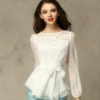 Wholesale 2015 New Women Chiffon Shirt&Blouse Top White Lady O Neck Flare Long Sleeve T-Shirt Plus Size XXL Free Shipping