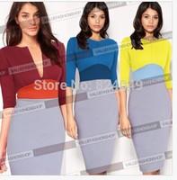 Free Shipping 2015 New Elegant V-Neck Fashion Celebrity Pencil Wear to Work Slim Zipper Party Bodycon Patchwork Dress