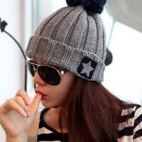men hat winter cap women ski hat beanie hat,fashion star logo twist knit turbantes with ball,bonnet femme,touca gorro masculino