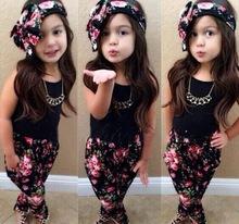 New Arrive Baby Girls Chothing Set  Black T shirt+Flowers pants Set fashion summer kids clothes suit 3~8 year(China (Mainland))