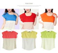 Fashion Summer Women Clothes T-shirt Casual Women Chiffon Shirt Tops Short Sleeve Loose Blouse Leisure Tops Plus Size Wholesale